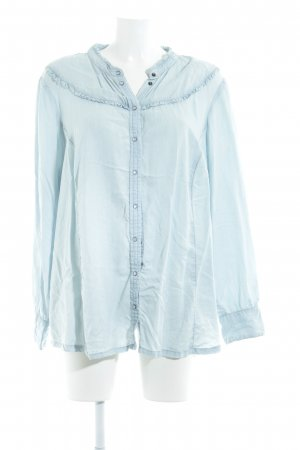 Zizzi Langarm-Bluse himmelblau schlichter Stil