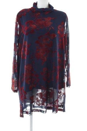 Zizzi Langarmkleid blau-rot Blumenmuster Casual-Look