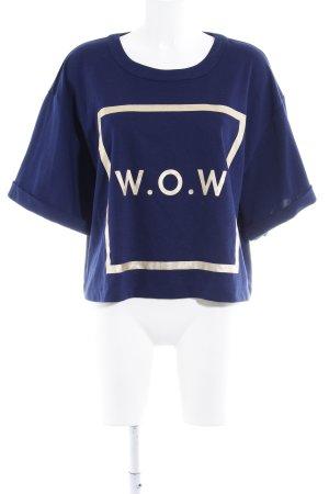 Zizzi Print-Shirt dunkelblau Schriftzug gedruckt Casual-Look