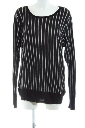 Zizzi Rundhalspullover schwarz-weiß Streifenmuster Casual-Look