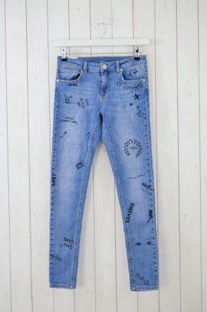 ZOE KARSSEN Damen Jeans Denim Mod.Patty Sketched Mittelblau Print Schwarz Gr.29