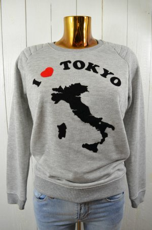 ZOE KARSSEN Damen Sweatshirt Grau Schwarz Rot Print Mod.Tokyo Gr.XS