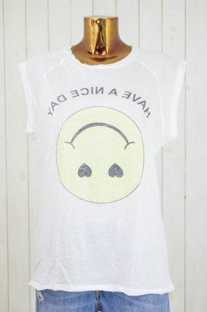 ZOE KARSSEN Damen Top Weiß Gelb Schwarz Smiley Print Baumwolle Modal Gr.M