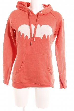Zoe Karssen Hooded Sweater neon orange-natural white placed print skater style