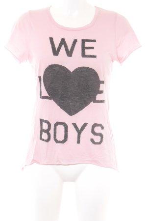 Zoe Karssen Print-Shirt rosa-schwarz platzierter Druck Casual-Look