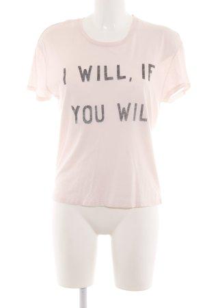 Zoe Karssen T-Shirt creme-schwarz Schriftzug gedruckt Casual-Look