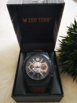 Zoo york Watch With Leather Strap black-brown