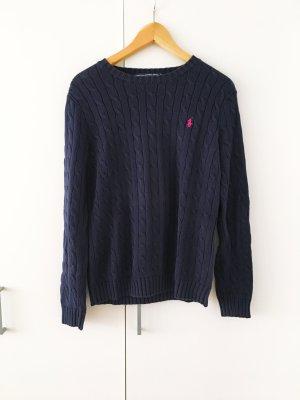 Zopfmuster Pullover Ralph Lauren Dunkelblau Pink