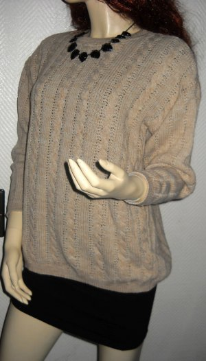 Zopfmuster Strickpullover Pullover Rundhals Long Pulli h m beige S M TOP 36 38