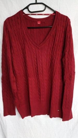 s.Oliver Pull torsadé rouge tissu mixte