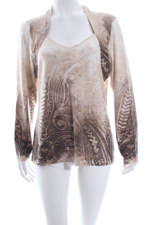 Zucchero V-Ausschnitt-Shirt Ornamentenmuster Romantik-Look