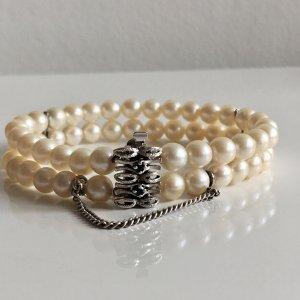 Zuchtperlen Armband Silber 835 Saphir blau Perlenarmband 2-reihig echt Perlen Echtsilber Vintage ❤️