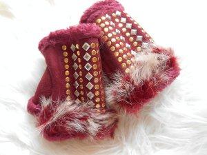 zuckersüße fingelose Handschuhe Pulswärmer Bordeaux Nieten echtes Kaninchenfell
