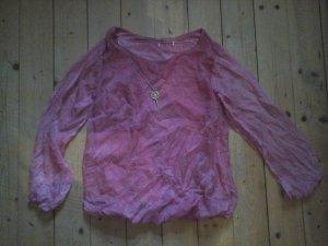 zuckersüßes Crash Shirt Tunikabluse Knitterlook rosa mit Schlüsselkette Gr. L top