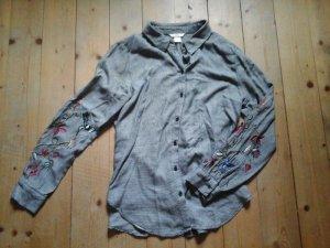 zuckersüsses Hemd Bluse H&M kariert Gr. 38 Stickerei top