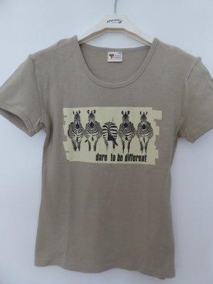 Zulani Designs, beigefarbenes Baumwoll-T-Shirt mit Zebra-Print