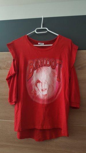 Brigitte Bardot Top cut-out rosso-bianco sporco