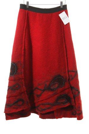 Zuza Bart Wollrock rot-schwarz Vintage-Look