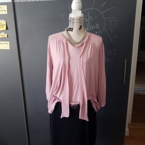 Tie-neck Blouse pink-light pink viscose