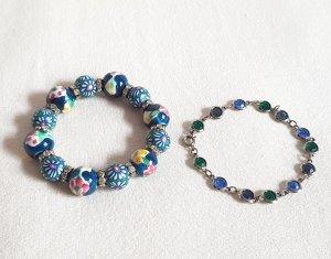 Zwei Armbänder Blau Grün Rosa Silber Perlen