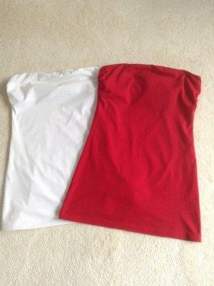 Zwei Bandeaux Longtops weiß und rot / Gr. S/M