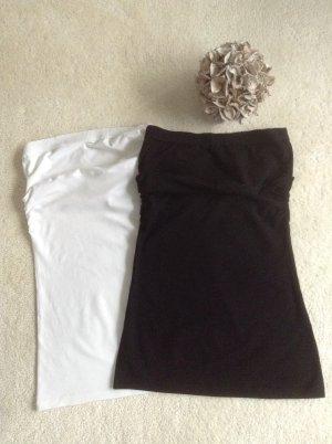 Zwei Bandeaux Tops / Gr. XS -S / weiß und schwarz / H&M