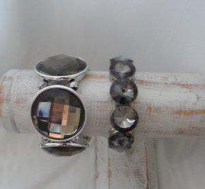 zwei edle Armbänder Grau Braun Silber wenig getragen