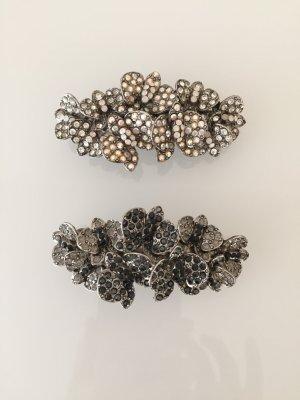 zwei Haarspangen handgemacht mit Strass in Schwarz, Weiß, Silber