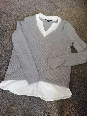 Comma V-Neck Sweater white-grey viscose