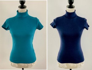 Amisu Turtleneck Shirt dark blue-cadet blue
