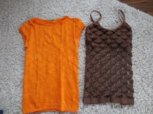 zwei Shirts, orange, braun, Gr. 36, Benetton