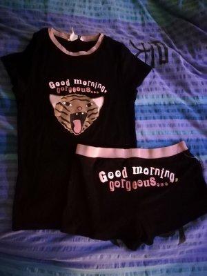 no name Pijama negro-rosa