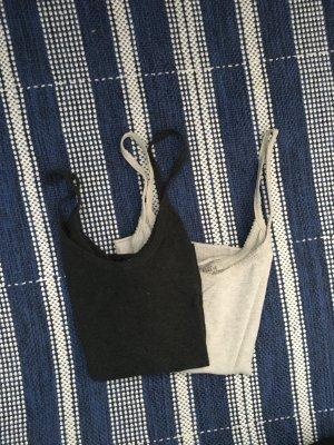 Zwei Tops Zara weich dunkelgrau / natur / weiß