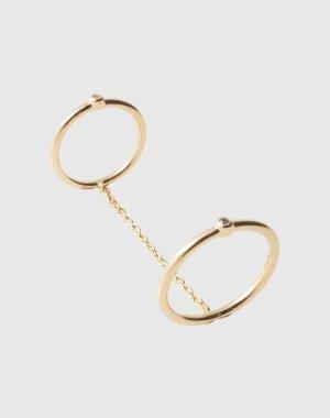 Zwei verbundene Ringe Miro von Elizabeth & James goldenes Ring-Duo