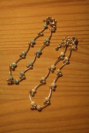 zwei wunderschöne Armkettchen * weisse und türkise Perlen * Neu *