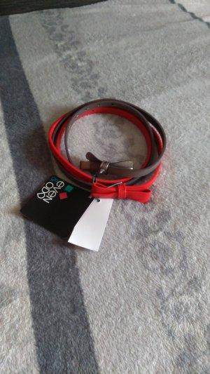 Even & Odd Cinturón pélvico color plata-rojo Imitación de cuero