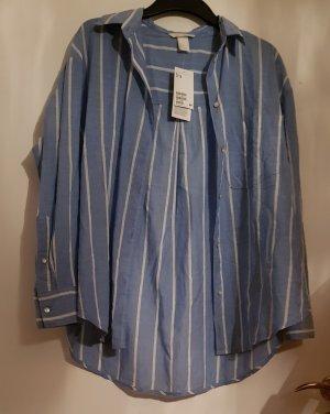 H&M Blusa ancha blanco-azul celeste