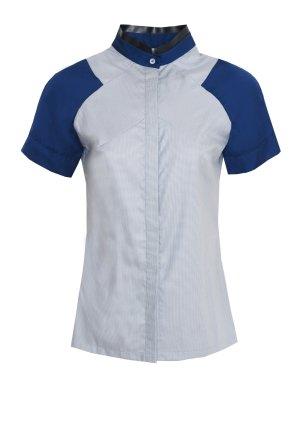 Zweifarbige Bluse mit kurzen Raglanärmeln, Gr. 36
