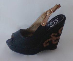 Zweifarbige Sandale Schwarz-Beige Größe 36
