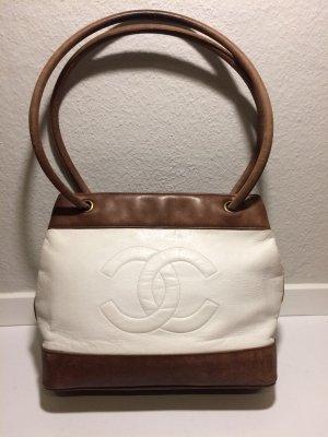 Zweifarbige Vintage CHANEL Leder-Handtasche