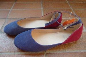 Ballerines à lacets rouge framboise-bleu daim