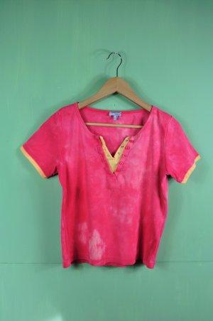 Zweifarbiges Batik Shirt mit Knopfleiste