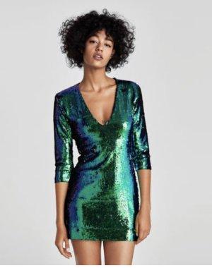 Zara Mini vestido azul cadete-azul neón