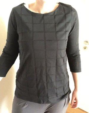 Zweilagen Shirt Karo Schwarz 36