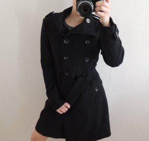 Zweireihiger Mantel in schwarz