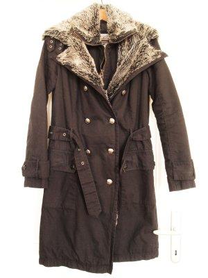 Zweireihiger Military Mantel mit grauem Pelzkragen von Firetrap