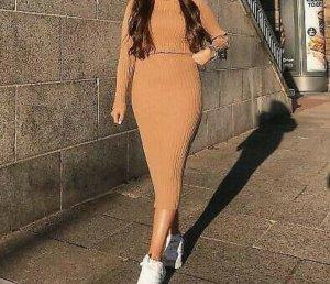 Mango Wollen jurk bruin