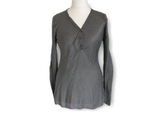 Zweiteiler, Bluse, Hemd, grau, weiß, Größe 38
