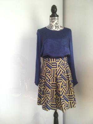 Zweiteiler Bluse mit Rock Königsblau Senfgelb Trendfarben