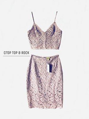 Zweiteiler Kleid mit cropped top und Rock aus spitze H&M